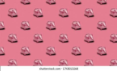 Nahtlose Musterkulisse mit Sparschwein. Minimal Concept art.save konzept.