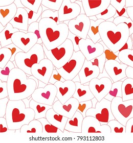 Seamless pattern background with bright hearts. Happy Valentine's Day. Raster version.