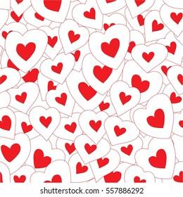 Seamless pattern background with hand drawn bright hearts. Happy Valentine's Day.  Happy Birthday. Happy Women's Day. Raster version.