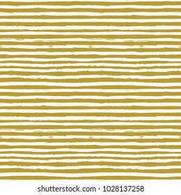 Seamless pattern background from white and gold hand drawn irregular ink lines and stripes. Modern stylish striped texture. Repeating abstract background with strokes. Swatch. Raster version.