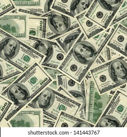 seamless pattern of banknotes, money usa