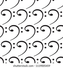 Seamless pattern of the bass clef symbols
