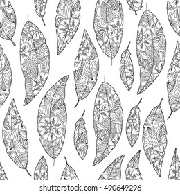 Seamless pattern of bird feathers with ornament inside isolated on white background. Monochrome image. Good quality antistress coloring book for adult and children. Raster illustration.