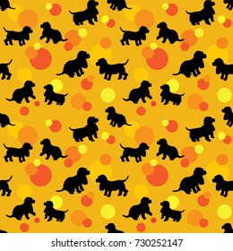 Seamless pattern with black dogs silhouettes puppy, spaniel breed and color circles on orange background. Animal design. Raster version