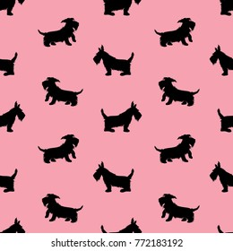 Seamless pattern with black dogs silhouettes, scotchterrier on pink background. Childish Animal design for girls.