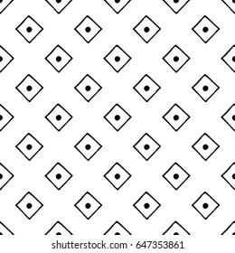 Seamless pattern. Black and white geometrical background with hand drawn decorative tribal elements. Print with ethnic, folk, traditional motifs. Graphic  illustration.