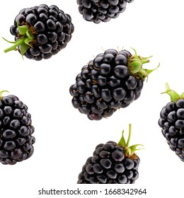 seamless pattern with blackberries on a white background.