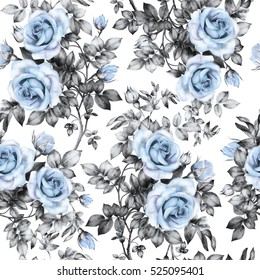 Seamless pattern with blue flowers and leaves, watercolor floral pattern, flower rose in pastel color, seamless flower pattern for wallpaper, card, fabric