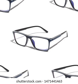 Seamless pattern of blue glasses on a white background with shadow
