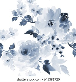 Seamless pattern in a blue palette of large flowers.