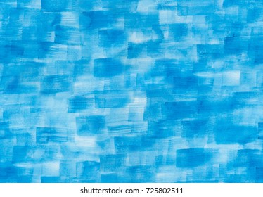 Seamless pattern of blue rectangles, squares, texture paint and paper hand painted watercolor background. Light abstract texture wallpaper with brush strokes. Handmade tileable fond.