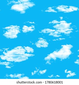 seamless pattern. blue sky with white clouds