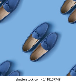 Seamless pattern of blue suede man's mocassin shoes over blue background, top view