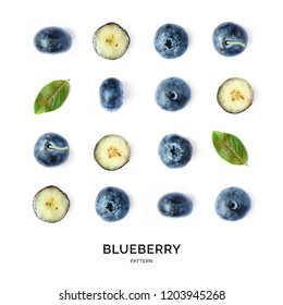 Seamless pattern with blueberry. Fruits abstract background. Blueberry on the white background.