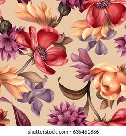 seamless pattern, botanical floral illustration, natural ornament, red, peachy, purple, wild flowers, light pastel background, textile design
