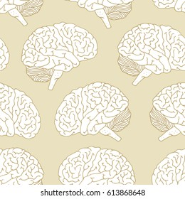 Seamless pattern with brain, hand drawn illustration on beige background