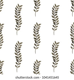 Seamless pattern with branch with leaves isolated on white background. Botanical illustration for your design