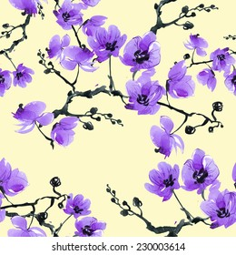 Seamless pattern branch orchid-4