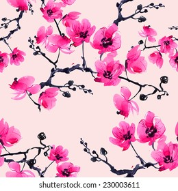 Seamless pattern branch orchid-7