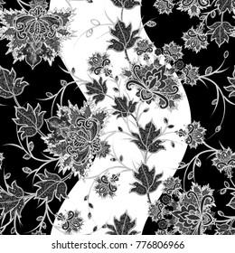 Seamless pattern. Brilliant lace, stylized flowers. Openwork weaving delicate, Paisley. Monochrome tracery, openwork curls.