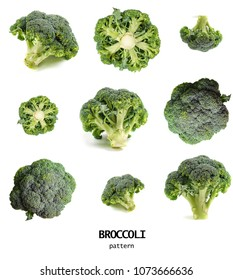 Seamless pattern with broccoli. Vegetables abstract background. Broccoli on the white background. - Shutterstock ID 1073666636