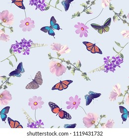 seamless pattern of butterflies and flowers . Endless texture for your design.