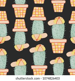 Seamless pattern of cactus green characters painted in watercolor