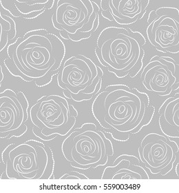 Seamless pattern can be used as greeting card, invitation card for wedding, birthday and other holidays and summer background. Rose flowers, abstract, dashed and monochrome on neutral.