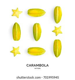 Seamless pattern with carambola. Fruits abstract background. Carambola on the white background.