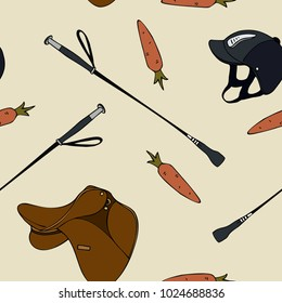 seamless pattern cartoon equestrian sport carrot saddle whip hel