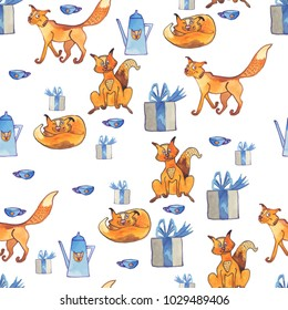 Seamless pattern with cats and dummies