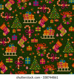 seamless pattern - cheerful detailed christmas cross stitch illustration with sledge, socks, gifts, christmas tree, sweets, wreath