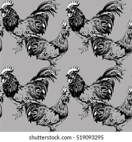 Seamless pattern with chickens. Roosters. Drawing by hand in vintage style.