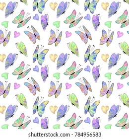 seamless pattern for children with birds and butterflies