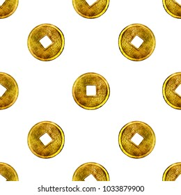 Seamless pattern with chinese coins