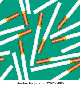 Seamless pattern of the cigarettes on green background