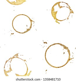 Seamless pattern. Coffee or tea cup stain on white background.
