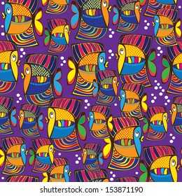 seamless pattern colored cartoon fish
