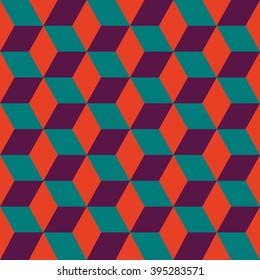 Seamless pattern of colored cubes. Endless multicolored cubic background. Cubical background. Abstract seamless background with cube decoration.