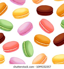 Seamless pattern with colorful macaroons
