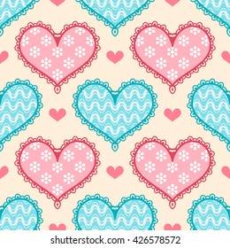 Seamless pattern with colorful stylized hearts. Illustration