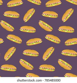 Seamless pattern with colorful sub sandwiches on violet background. Nice fast food texture for textile, wallpaper, cover, wrapping paper, banner, bar and cafe menu design