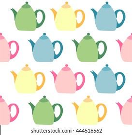 Seamless pattern with colorful teapots on white background