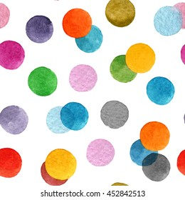 Seamless pattern with colorful watercolor dots
