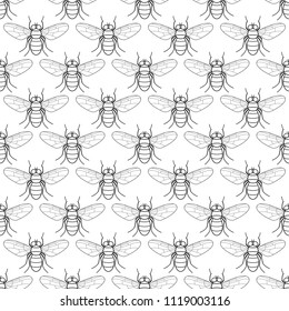 Seamless pattern of the contour fly insects