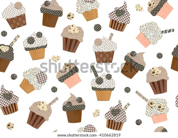 Seamless pattern cupcakes isolated.