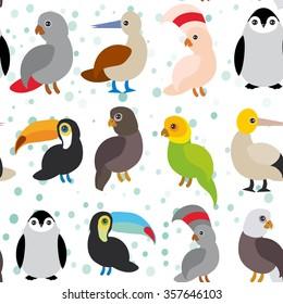 seamless pattern Cute Cartoon birds set - gannet penguin toucan parrot eagle booby on white background.