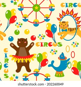 seamless pattern with cute circus animals