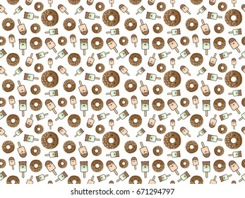 Seamless pattern of cute kawaii style ice cream and chocolate glazed donuts. Decorative design elements in doodle Japanese style isolated on white background. Raster illustration.