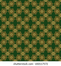 Seamless pattern with damask ornament. Seamless golden ornament in arabian style on a green background. Pattern for wallpapers, backgrounds, flyers or wrapping paper.